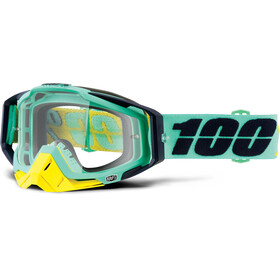 100% Racecraft Anti Fog Clear Maschera turchese